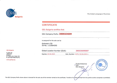 GS1 Certificate | ORTHOTEH